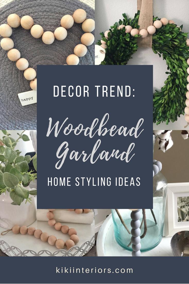 wood bead garland decor trend love - Christmas Beaded Garland Decorations